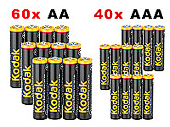 kodak monster sparpaket 100 alkaline batterien aaa aa ebay. Black Bedroom Furniture Sets. Home Design Ideas